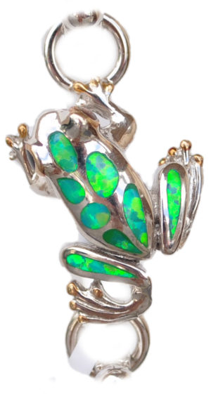 Sterling silver and 18kt gold Frog Topper with opals by kovel