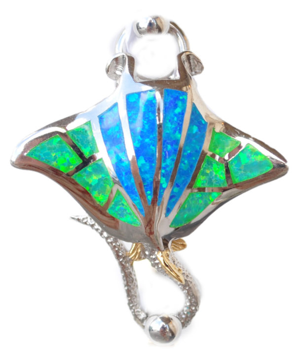 Sterling silver and 18kt gold Manta Ray with opals by kovel