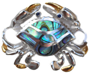 Sterling silver and 18kt gold crawling crab topper with abalone by kovel