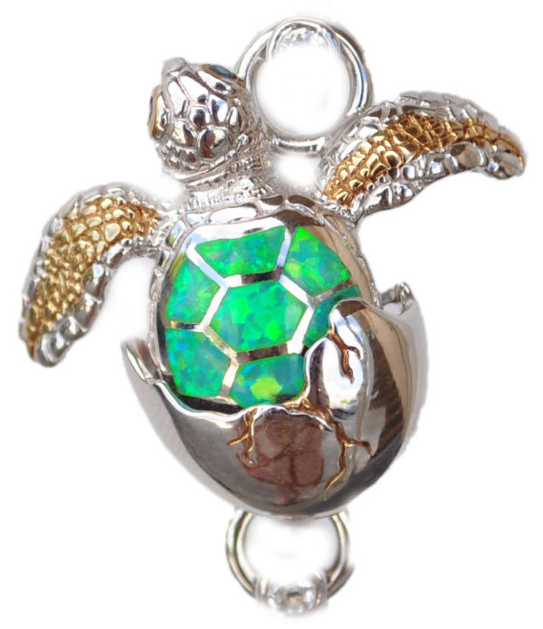 Sterling silver and 18kt gold Blue Green Turtle Hatching Topper with opals by kovel