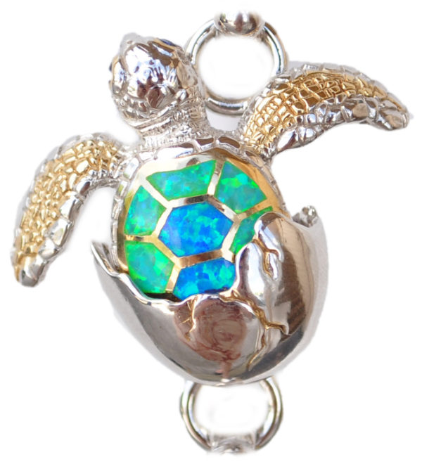 Sterling silver and 18kt gold Turtle Hatching Topper with opals by kovel