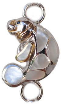 Sterling silver and 18kt gold Manatee Topper with mother of pearl by kovel