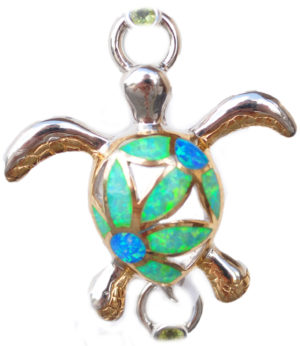 Sterling silver and 18kt gold Filigree Flower Turtle Pendant with opals by kovel