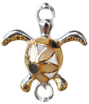 Sterling silver and 18kt gold Flower Turtle Topper by kovel