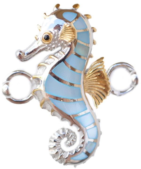 Sterling silver and 18kt gold Seahorse Topper with mother of pearl by kovel