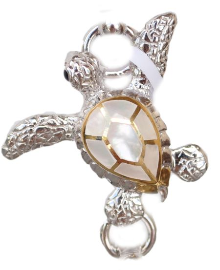 Sterling silver and 18kt gold Swimming Turtle topper with mother of pearl by kovel