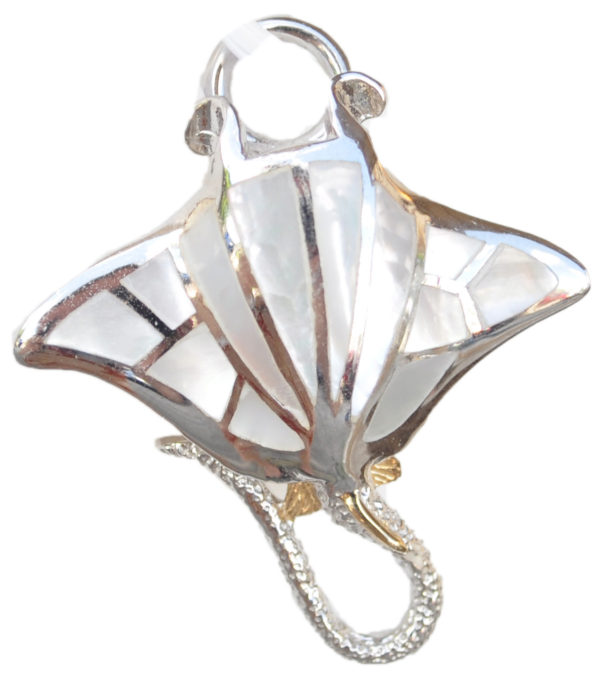 Sterling silver and 18kt gold Manta Ray with mother of pearl by kovel
