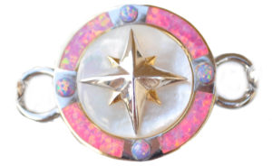 Sterling silver and 18kt gold Compass Topper with opals by kovel