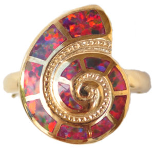Sterling silver and 18kt gold Red Nautilus shell ring with opals by kovel