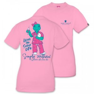 Save The Turtles Scrub Flamingo pink tee shirt by simply southern