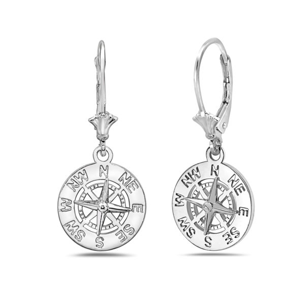 Small Compass Sterling Silver Earrings