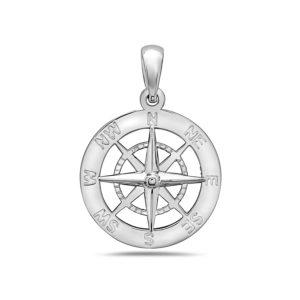 Medium Compass Sterling Silver Pendant