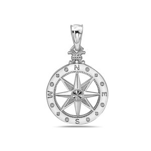 Small Compass Rose Sterling Silver Pendant