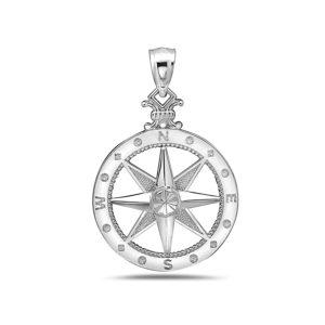 Medium Compass Rose Sterling Silver Pendant