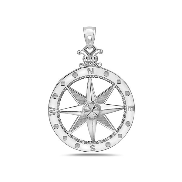Large Compass Rose Sterling Silver Pendant