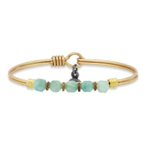 Beaded Bangle Bracelet In Amazonite handmade in the USA by luca + danni