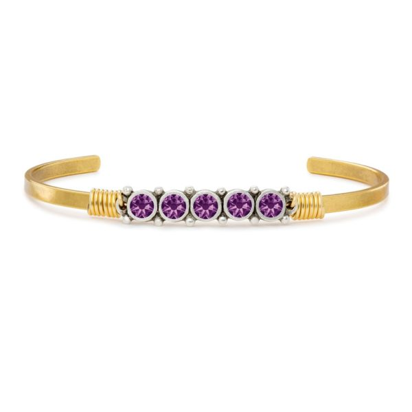 February Birthstone Cuff Bracelet handcrafted in the USA by luca + danni