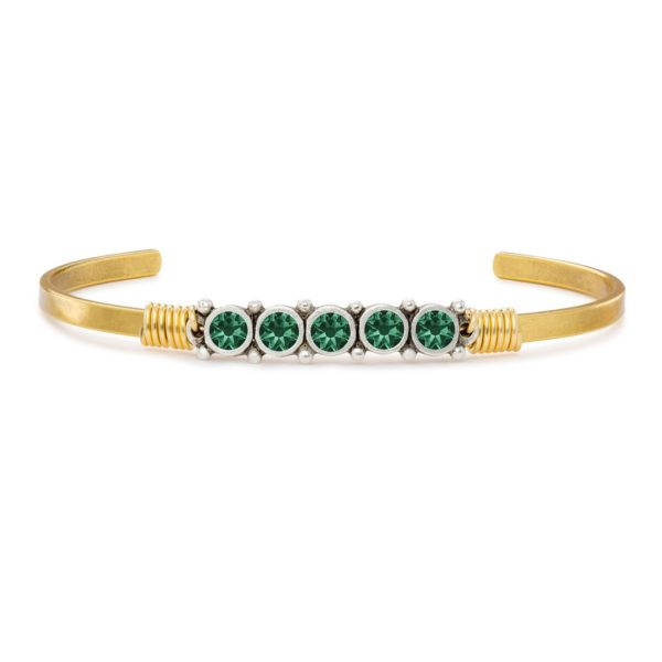 May Birthstone Cuff Bracelet handcrafted in the USA by luca + danni