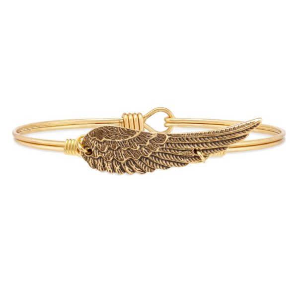 Angel Wing Bangle Bracelet in Rustic Gold by luca and danni