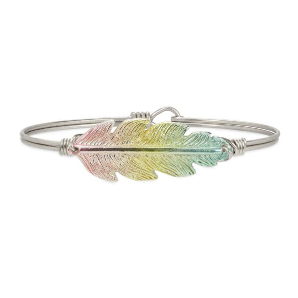 Lucky Feather Bangle Bracelet in Rainbow Mood-lifting color takes this fan favorite bracelet to new heights of fashion. This limited-edition piece is uniquely finished by a state-of-the-art plating process for a gorgeous pastel rainbow effect. handcrafted in the USA by luca + danni