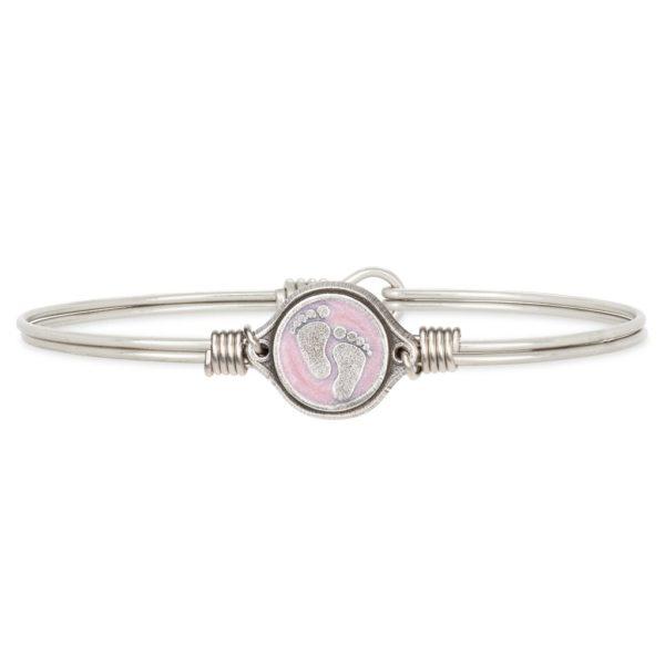 Little Footsteps Bangle Bracelet in Pink