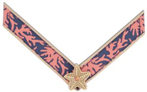 Ariel Strap Blue and coral patterned ribbon with tan starfish ornament