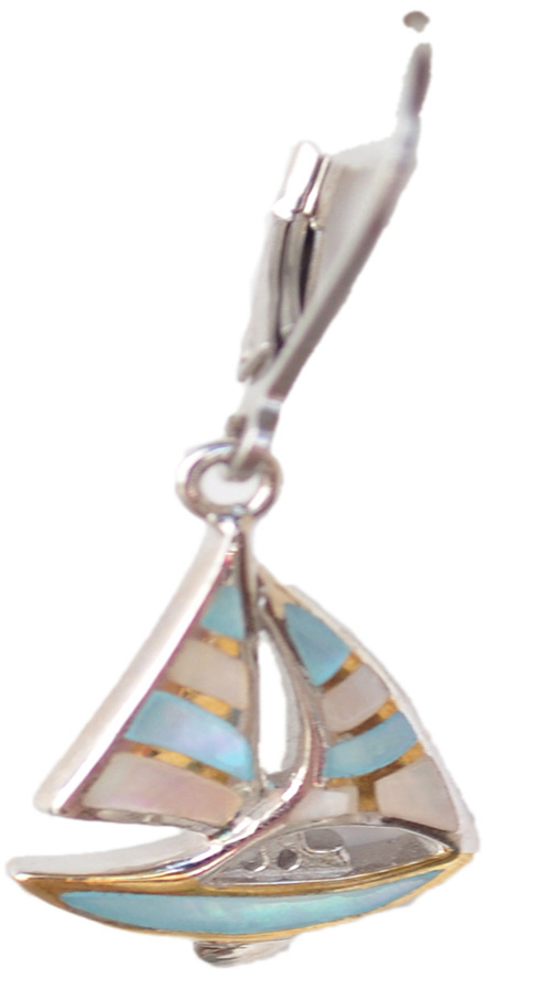 Sterling silver and 18kt gold Sailboat earrings with mother of pearl by kovel