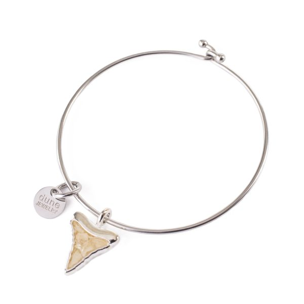 shark tooth bangle bracelet handmade in the USA by dune jewelry