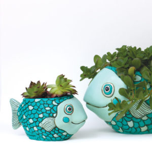 BABY TEAL FISH PLANTER