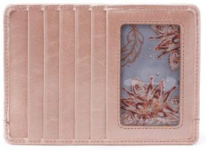 leather Euro Slide Rose Quartz Credit Card Wallet by hobo the original