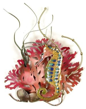 Rainbow Seahorse with Coral