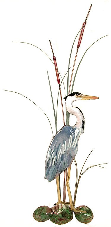 Small Great Blue Heron, with Cattails, Facing Right