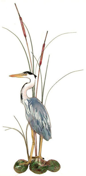 Small Great Blue Heron, with Cattails, Facing Left