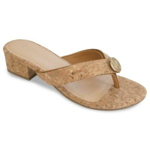 The Alexa Cork is a 1 1/4″ block heel thong sandal in cork material with matching cork signature strap.