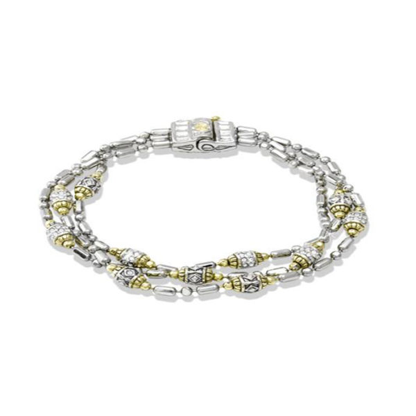 Two tone Crystal Station 3 Stranded Bead Bracelet