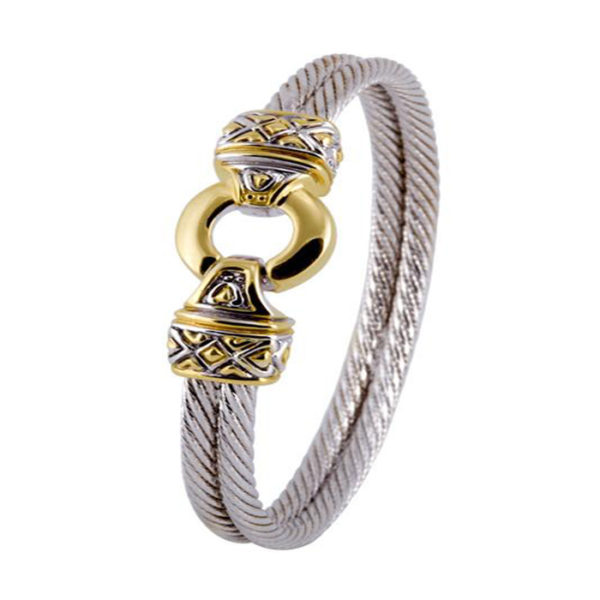 two tone Gold Circle Double Wire Bracelet