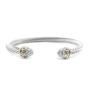 Briolette Small Pave Wire Cuff bracelet