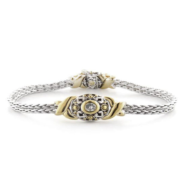 Two tone Circle with stone in center Bracelet