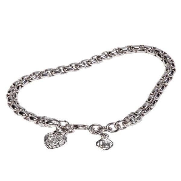 "Silver Rhodium 7"" Box Chain Bracelet"