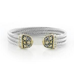 Two Tone Triple Wire Cuff Filigree Bracelet