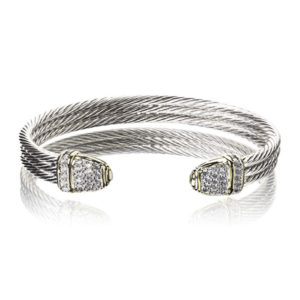 two tone Pave Triple Wire Cuff Bracelet