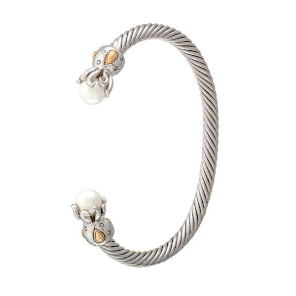 two tone Thin Wire Pearl Cuff with octopus caps