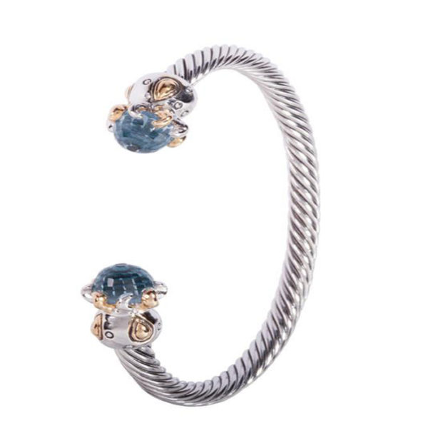 Two tone Octopus Aqua stone Cuff Bracelet