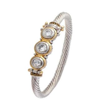 two tone 3 Stone Bracelet by john medeiros