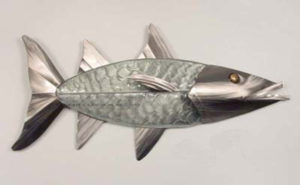 barracuda with glass body and silver head and fins stainless steel wall art by mark malizia