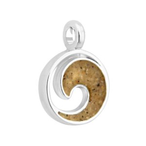 wave charm with sand from beach handmade in the USA by dune jewelry
