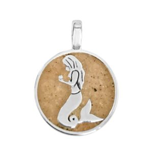 mermaid charm with sand handmade in the USA by dune jewelry
