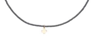 "15"" choker heishi 2mm bead - signature cross gold charm"