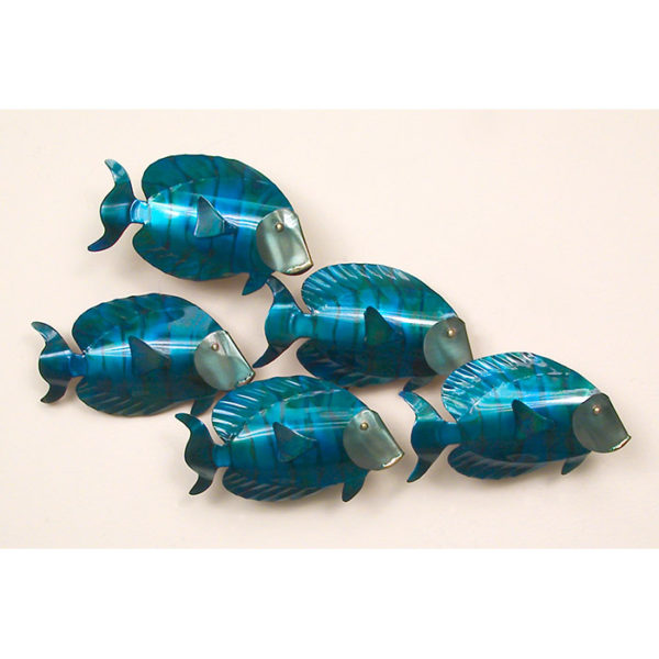 School of Blue Tangs 5 Fish