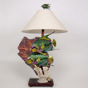 two Queen Angelfish with coral Lamp